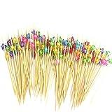 FLZONE Cocktail-Sticks,100 Stück Cocktailspieße Bambusspieße für Cocktails Vorspeisen Früchte Desserts Partyzubehör Obstspieß-Fünfzackiger Stern
