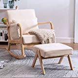 Paddie Rocking Chair with Ottoman, Mid Century High Back Armchair Modern Glider Rocker Upholstered Fabric Padded Seat Side Pocket Pillow for Nursery (Beige)