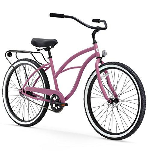 sixthreezero Around The Block Women's Beach Cruiser Bicycle, 1-speed, 26-Inch, Light Plum with Black Seat and Grips
