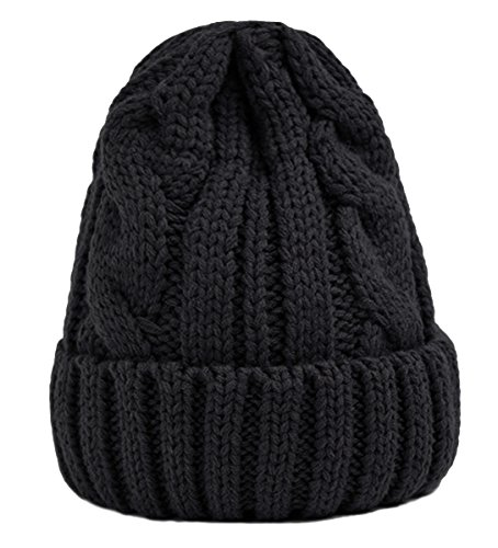Spikerking Womens New Winter Hats Knitted Twist Cap Thick Beanie Hat,Black