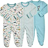 Baby Footed Pajamas with Mittens - 3 Packs Boys Baby Footie Onesies Sleeper Newborn Cotton Sleepwear Infant Outfits 3-6 Months Blue