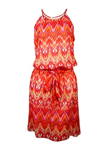 GUESS Women's 'Kylie' Belted Ikat Halter Dress (12, Red Multi)