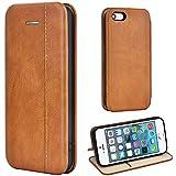 Leaum iPhone SE Hülle, iPhone 5S Handyhülle Lederhülle Flip Hülle für Apple iPhone SE / 5S / 5 Schutzhülle Leder (Braun)