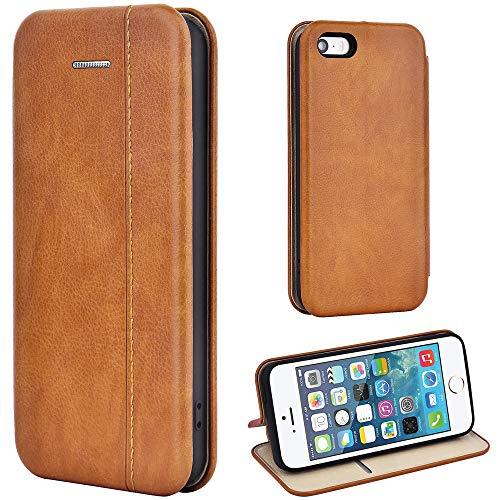 Leaum Coque iPhone SE Housse en Cuir Premium Étui à Rabat pour Apple iPhone SE / 5S / 5 - Brun