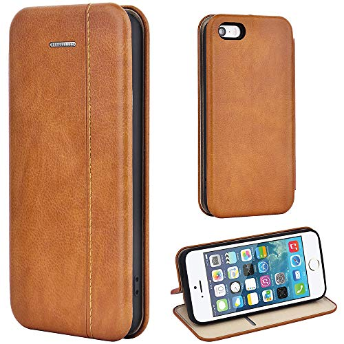 Leaum iPhone SE Hülle, iPhone 5S Handyhülle Lederhülle Flip Case für Apple iPhone SE / 5S / 5 Schutzhülle Leder (Braun)