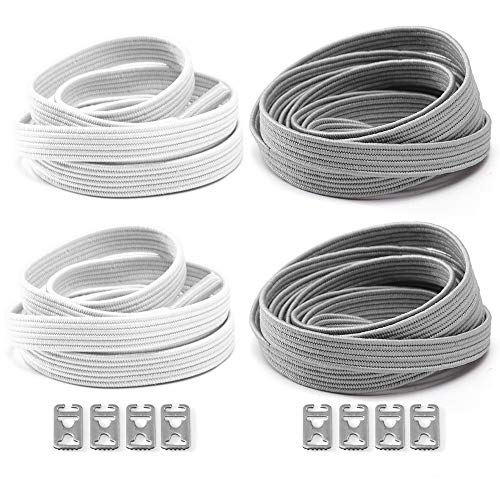 Elastic No Tie Shoelaces For Kids and Adults sport running Lazy Shoelace For Sneakers Stainless Steel Buckle System For Laces (white+gray)