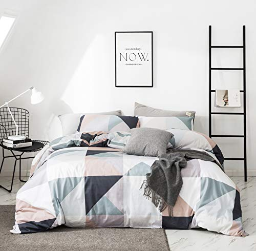 YuHeGuoJi 3 Pieces Duvet Cover Set 100% Cotton King Size Navy Blue White Geometric Bedding Set 1 Patchwork Triangle Print Duvet Cover with Zipper 2 Pillowcases Hotel Quality Soft Comfortable Durable