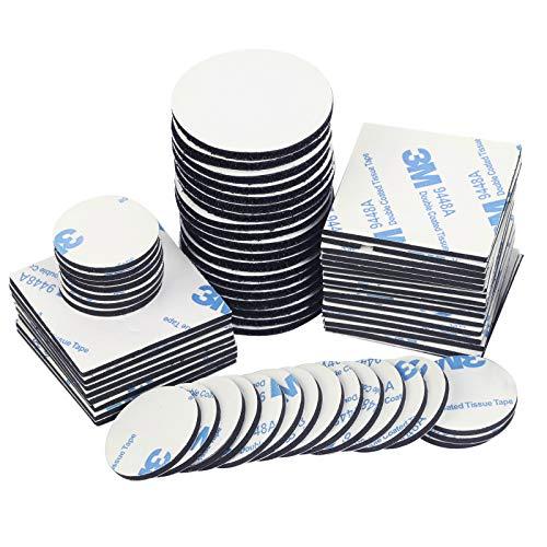 CHIFOOM 80tlg Doppelseitig Klebepad Set 60stk Selbstklebend Klebeband 20stk Klebende mit Klettverschluss Flauschband und Hakenband Extra Stark Schaumstoff Pads für Wände...