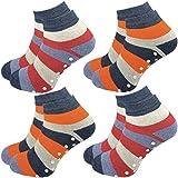GAWILO 4 Paar Kinder Stoppersocken – ohne drückende Naht – ABS Socken – Turnsocken – Haussocken – Thermo – Vollplüsch – perfekt bei kalten Füßen & zum Kindersport (31-34, farbig 1)