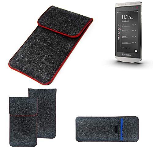 K-S-Trade® Handy Schutz Hülle Für BlackBerry Porsche Design P9982 Schutzhülle Handyhülle Filztasche Pouch Tasche Case Sleeve Filzhülle Dunkelgrau Roter Rand