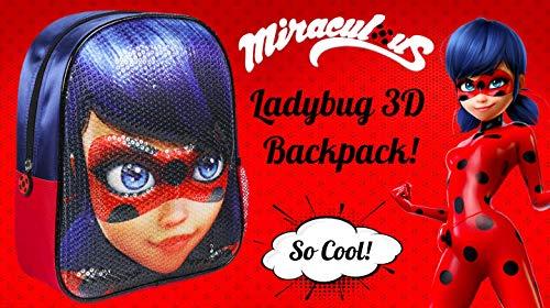 51nW47Rdu2L - Miraculous | Mochila Bolso Ladybug 3D | Diseño Exclusivo De Lentejuelas | ¡Ideal para Vacaciones Y Regreso A La Escuela