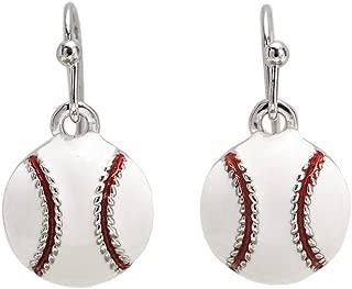 Baseball Enamel Dangle Earrings Nickel Free Mom Fan Gift