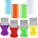 8 Pieces Flea Lice Combs Double Sided Lice Removal Comb Hair Grooming Comb with Metal Teeth, 4 Colors