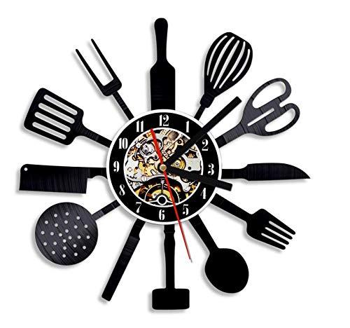 NOlogo Reloj de Pared de Vinilo Cocina Personalizada Disco de Vinilo Reloj de Pared Cuchillo y Tenedor Cuchara Vajilla Reloj de Pared Reloj de Pared Cubiertos Arte de pared30cm.12 Inches.