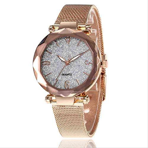 OLUYNG Reloj de Pulsera Nuevo Reloj de Mujer con Estilo Personalidad Polvo de Plata en Forma de Diamante Diamante Malla de Oro con Reloj de Cuarzo Femenino Blanco Plateado