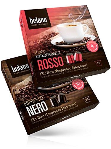 50x Belano Probiertset Nespresso kompatible Kapsel Capsule 100% Arabica Kaffee-Kapseln kompatibel mit Nespresso-Maschinen* 25x Nero 25x Rosso