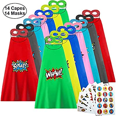 EKEV Superhero Capes and Masks with Stickers for Kids Themed Birthday Party