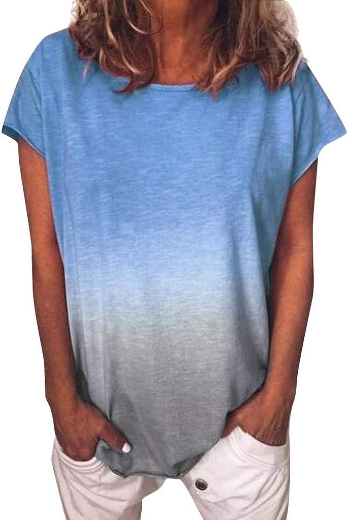 AODONG Tops for Women Sexy Casual Summer Short Sleeve Shirts, Women's Casual V Neck Irregular Hem Plus Size Tee Shirt Tunic Tops Blouse Blue