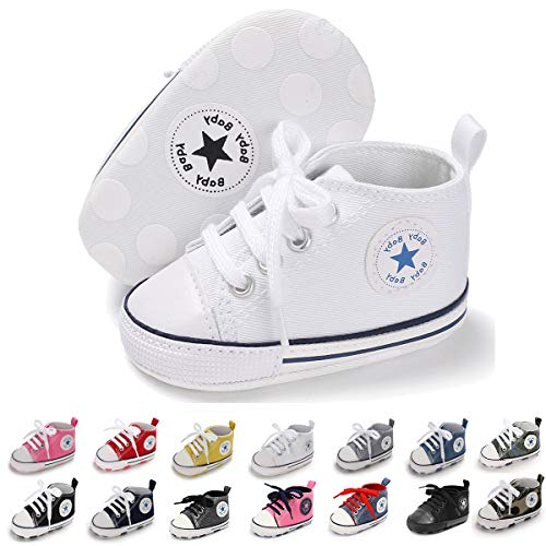 Baby Girls Princess Bowknot Soft Sole Cloth Crib Shoes Sneaker White, 12-18 Months