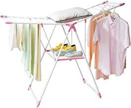 Clothes Rack Pink Clothes Hanger, Home Versatile Balcony Airfoil Drying Rack Double Layer Folding Drying Rack Size: 153 * ...