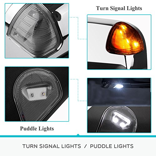 YITAMOTOR Chrome Power Heated LED Turn Signal Light Puddle Lamp Towing Mirrors Compatible for Dodge Ram for 2009-2017 Dodge Ram 1500 2010-2017 Ram 2500 3500