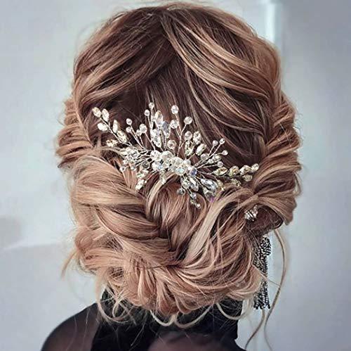 Unicra Braut Hochzeit Haarkamm Kristall Haarschmuck Braut Blume Haarteile für Frauen und Mädchen (Rose Gold)