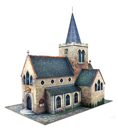 The CityBuilder Church Cardboard Model Making Kit - O Scale Model Railroad Building