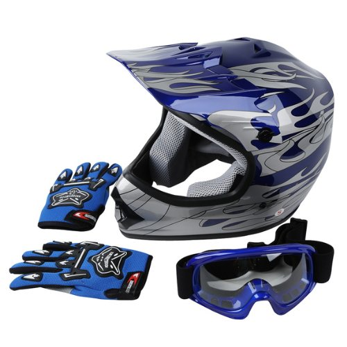 TCMT DOT Approved Youth Blue Flame Dirt Bike ATV MX Motocross Helmet Goggles + Gloves S M L (Large)