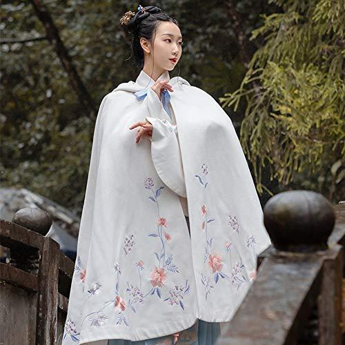 Rawall Alter traditioneller Tang-Anzug Pflanze Muster Stickerei Cape Halloween Cosplay Hanfu Weibliche chinesische Kostüm Traditionelle Kleidung Hanfu (Farbe : Weiß, Größe : L)