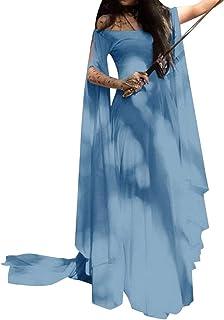 d01bda21e4bd DianShaoA Donna Vestito Senza Spalle Maniche Lunghe Elegante Abito da  Spiaggia Partito Abiti