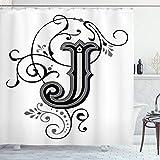 Ambesonne Letra J cortina de ducha, Shabby Chic clásico escrito medieval iniciales J Royal Noble familia personaje, tela baño decoración Set con ganchos, 75 pulgadas de largo, negro gris blanco
