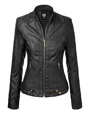 Lock and Love WJC747 Womens Dressy Vegan Leather Biker Jacket M Black