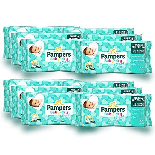 Pampers Baby Fresh Salviettine, Formula Idratante e Delicata che Ripristina il PH della Pelle,12 Confezioni da 50 Pezzi,...