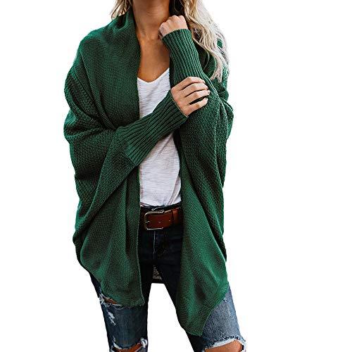 iHENGH Damen Winter Warm Bequem Mantel Lässig Mode Frauen Womens aus der Schulter Pullover lässig gestrickte lose Lange Ärmel Jacke (Grün,S)