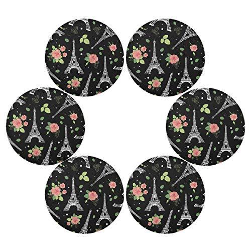 TropicalLife OOWOW Lot de 6 sets de table ronds vintage avec motif de rose Eiffel, antidérapants, résistants à la chaleur, lavables