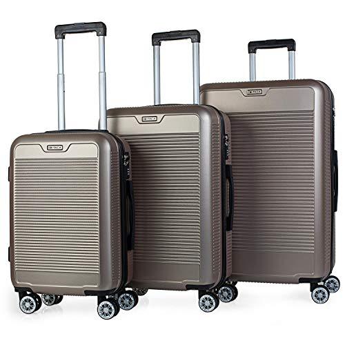 ITACA - Juego Maletas de Viaje rígidas 4 Ruedas Trolley Set 55/67/76 cm abs. duras cómodas s y Ligeras. candado. pequeña Cabina ryanair, Mediana y Grande. t72000, Color Dorado