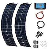 Framy Solar Panel 400W 2X 200W PET Flexible Solar Panel Portable Mono Solar Battery Charger with Controller for Car Yacht Battery Boat,with 40A Controller