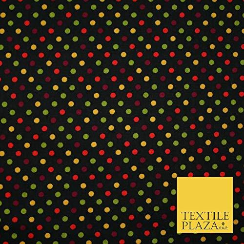 Tela para vestido de popelina de algodón 100% con lunares y lunares multicolor en color negro 5535 muestra (10 cm x 10 cm)