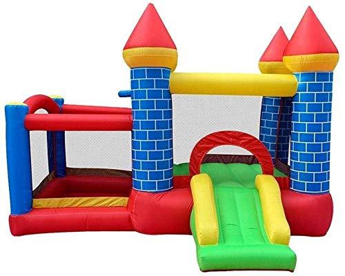 QULONG Castillo Inflable para niños, Castillo Inflable Cuadrado y tobogán, trampolín de jardín de Infantes para Interiores y Exteriores, pequeño Castillo Travieso, niños, Azul,