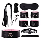 Wongfon 8PCS Juegos para Adultos Toy Kit-Amàl Plùg Handcuffs Ńíppĺé Clamp Whip...