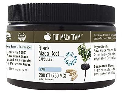 Black Maca Capsules - 750 Mg, 200 Ct - Raw, Certified Organic, Fresh Harvest from Peru, Fair Trade, GMO-Free, Gluten Free and Vegan