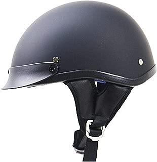 DokFin Half Face Adjustable Skull Cap Style DOT Approved Crash Bike Cruiser Chopper Moped Scooter ATV Motorcycle Helmet for Men Women (Matt Black, S)