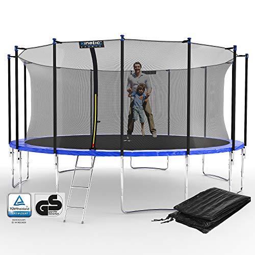 Kinetic Sports Outdoor Gartentrampolin Ø 488 cm, TPLS16, inklusive Sprungtuch aus USA PP-Mesh +Sicherheitsnetz +Rand- u. Regen-Abdeckung +Leiter, bis 150kg, GS-geprüft,UV-beständig, BLAU