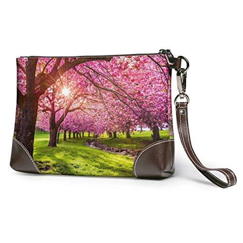 XCNGG Bolso de mano con estampado de huerto floreciente rosa, bolso de mano de cuero desmontable, bolso de mano para mujer