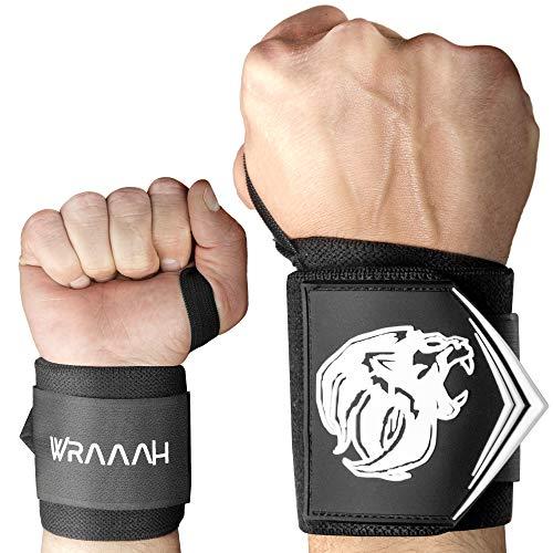 WRAAAH Handgelenk Bandagen I Wrist Wraps I Handgelenkbandage I Bandage für Sport Bodybuilding, Kraftsport & Crossfit I Gelenkschoner Fitness I Handgelenk Bandagen Fitness