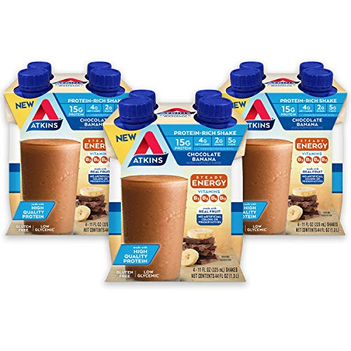 Atkins Chocolate Banana Protein-Rich Shake. With B Vitamins and High-Quality Protein. Made with Real Fruit. Keto-Friendly and Gluten Free, 11 Fl Oz (Pack of 12)