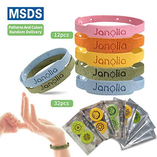 Janolia Citronella Armbänder 12 Stück, mit 32 Citronella-Patches für drinnen und draußen, Kinder, Erwachsene
