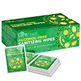 Care Touch Alcohol-Free Hand Sanitizing Wipes – 100 Individually Wrapped Wipes - Travel Size Hand Sanitizer Wipes with Vitamin-E & Aloe Vera for Adults and Babies in Home, Office & Gym