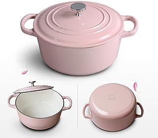 XH&XH Shallow Cast Iron Dutch Soup Pot Macaron Gradient Color Stew Pot with Non-Stick Enamel Coating Household Large Stew ...