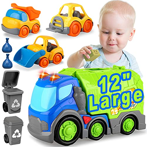 Car Toys for Toddlers, Trash Truck Toys for Boys and Girls, Large Garbage Truck Toys, 2 Garbage Cans, Small Construction Vehicles Toy Set, Big Waste Recycling Truck Toy Set, Birthday Gift